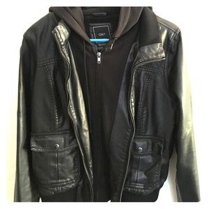 Obey Leather Bomber Jacket with attached Hoodie